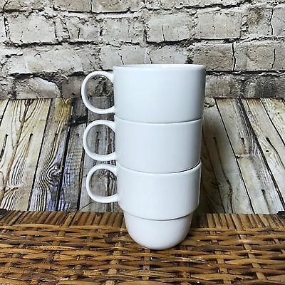 Set of 3 STAKK Porcelain Coffee Mugs Cups Stackable EXCELLENT CONDITION White