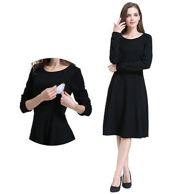 Long Sleeve Maternity Clothes Nursing Breastfeeding Dresses For Pregnant Dress