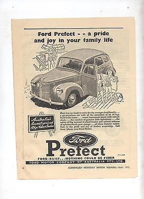 Ford Prefect Original Advertisement removed from a 1952 Magazine a