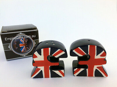 Salt and Pepper Set ENGLAND English Pound Ceramic Collectable - Gift Boxed