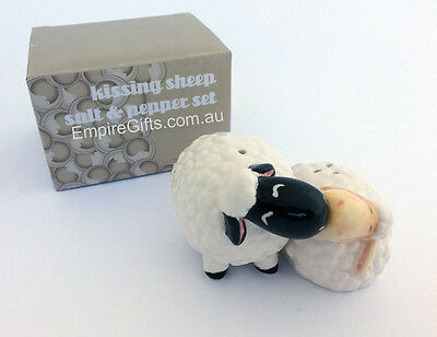 Salt & Pepper Set Kissing Sheep Collectable Set 2 Kitchen - Gift Boxed