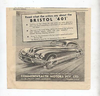 Bristol 401 Original Advertisement removed from a 1952 Magazine