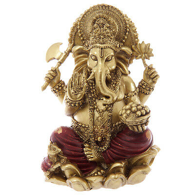 Lord Ganesh Ganesha Statue Ornament  Hindu God, Ideal Gift, Red and Gold. 16cm.