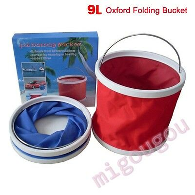 9L Folding Collapsible Bucket Barrel Water Container Car Washing Camping Fishing