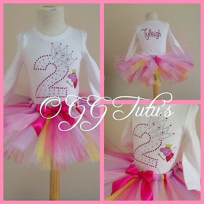 Birthday Baby Girls Tutu Outfit Rhinestones Peppa Pig Party Personalised