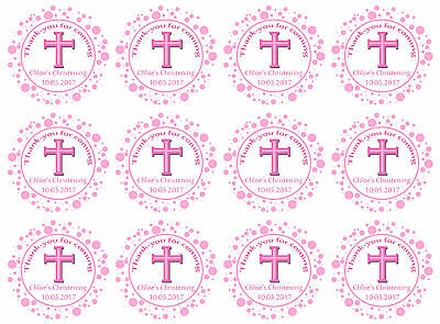 Girls Pink Personalised Christening / baptism thank-you stickers