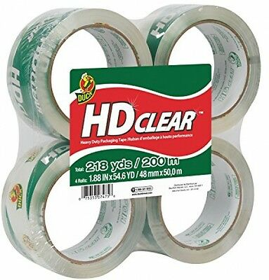 Duck Brand HD Clear High Performance Packaging Tape 1.88Inch x 54.6-Yard 4-Pack