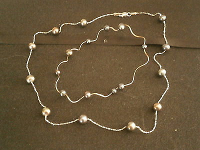 Black Florida Sea Pearls and 14 carat solid white Gold Necklace and Bracelet Set