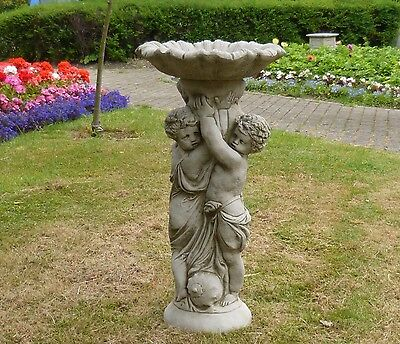 Twin Cherubs Bird Bath Feeder Cast Stone Garden Ornament Statue Decor Angel Koi