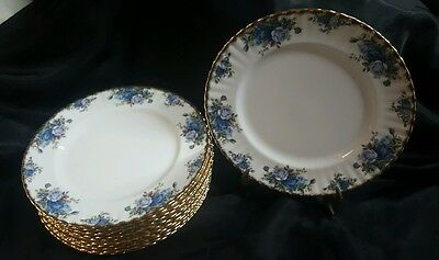 "12 Dinner Plates Royal Albert ""Moonlight Rose"" 1987"