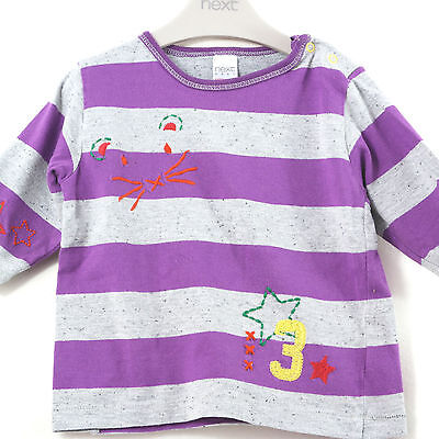 Baby Girls Purple Grey Striped Next Mouse Star Long Sleeved Top Age 3-6 Months