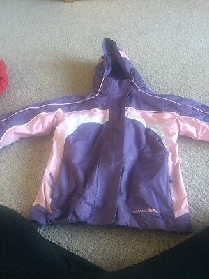 Purple And Pink Trespass Girls Coat Age 7/8