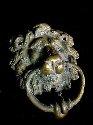 Reclaimed Solid Brass Lions head Door Knocker Architectural Salvage Handle Knob