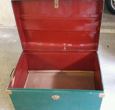 Metal storage trunk large