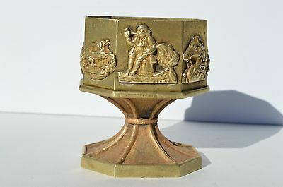 Beautiful Antique French Heavy Solid Bronze Octagon Cup With 8 Scenes