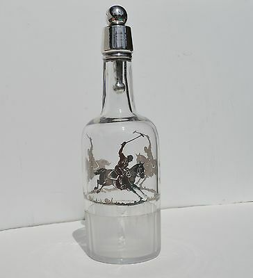 Fine Antique Sterling Silver Over-Lay Polo Player Crystal Liquor Bottle Decanter