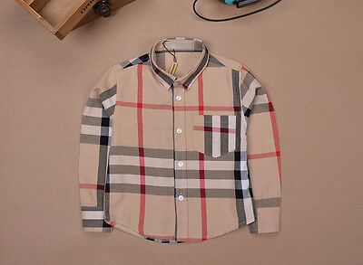Toddlers Boys Girls Kids Plaid Shirts British style Long Sleeve Cotton SZ 12M-4Y