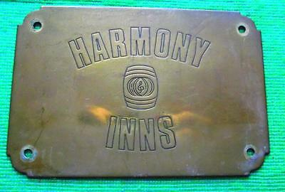 Brass Vintage Sign Plaque English Public House Door Plate : - Harmony Inns