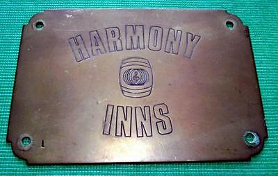 Brass Vintage Sign Plaque English Public House Door Plate : - Harmony Inns B