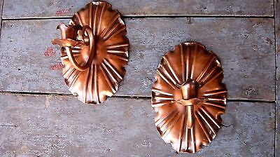 Petite Vintage Copper Wall Sconce Taper Candle Holders Home & Garden Light Set