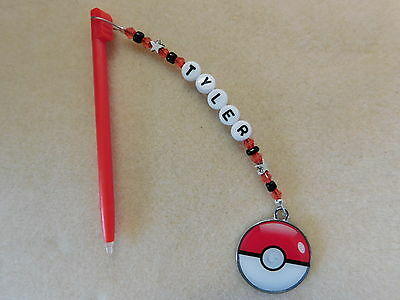 Personalised DSi DS Lite Stylus / Pen with charm Pokemon Ball Red