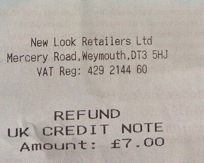 New Look Credit Note / Refund Amount £7.00