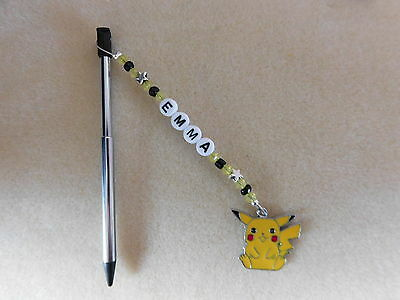 Personalised 3DS Stylus Pen with charm Pikachu Pokemon Black pen