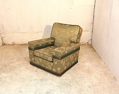 Vintage Armchair, Green Jacquard Upholstery, Chintzy, Floral