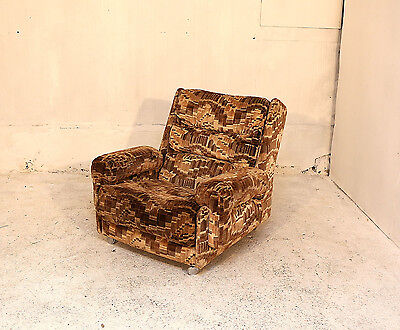 Vintage G Plan Armchair, Brown, Abstract, Retro, Velvet Upholstery, 70`s Lounge