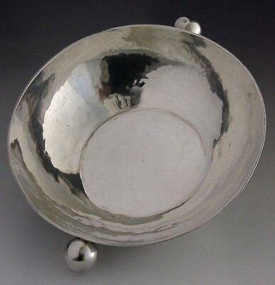 ARTS & CRAFTS MODERNIST STERLING SILVER WHISKY QUAICH HAND HAMMERED 137g 1990
