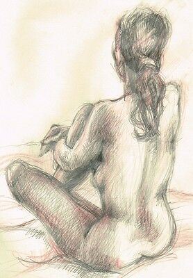 Nude Naked Artistic Signed Original Pencil Drawing Woman Sale Reduced