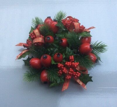 """2.25"""" Candle Ring Christmas Decoration 'Red Berry/Tartan Ribbon' Fits Pillar Can"""