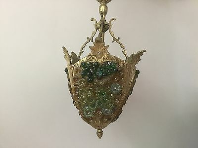 Antique Vintage Czech Murano Beaded Grape Cluster Fruit Chandelier Lantern