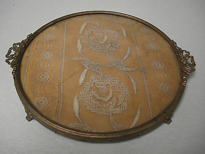 Antique Vintage Brass Ribbon Glass Vanity Tray Embroidered Doily