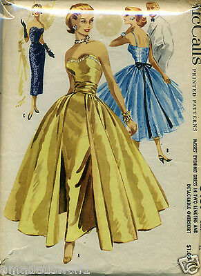 Vintage 50's McCALL'S 3439 EVENING*WEDDING DRESS/GOWN Sewing Pattern-2 Lengths