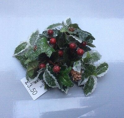 """New 1"""" Candle Ring Christmas Decoration 'Holly & Ivy Iced' Fits Dinner Candles"""