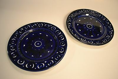 "Set of 2 Arabia Finland Valencia - 7 3/4"" Cobalt Blue & White salad plates"