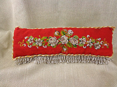 Antique Cushion Pillow Beadwork Beaded Victorian Vintage Hand Made Red Yellow
