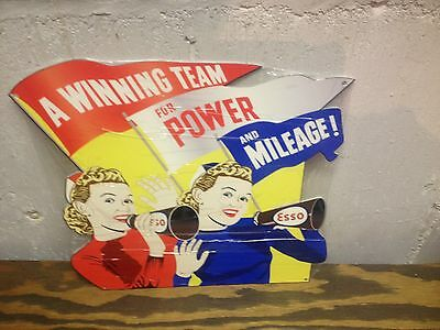 Old Style Esso Dealer Mileage Power Display Sign Great Graphic's And Color