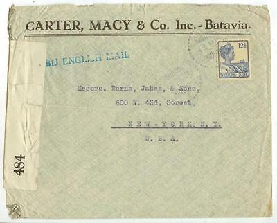 scarce 1917 WWI Netherlands Indies censored cover to US