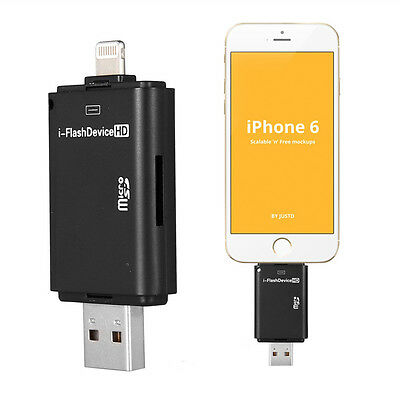 USB i-Flash Drive HD Micro SD/TF Memory Card Reader Adapter For iPhone 5/5S/6/6S