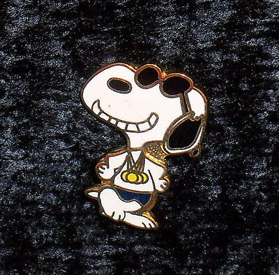 Vintage Peanuts Lapel Pin - Swimmer Joe Cool Snoopy with his Gold Medals - Aviva