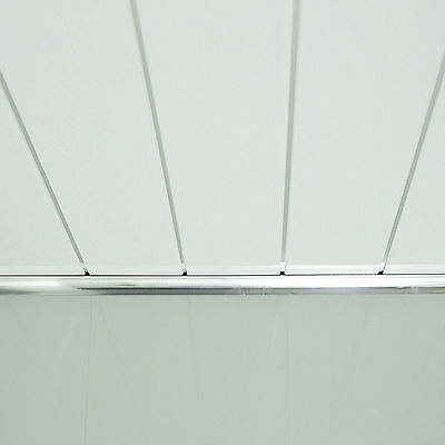 Gloss White & White With Chrome Bathroom Cladding Panels PVC Wet Wall Ceiling