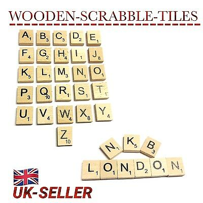 100/200 Mix Wooden Scrabble Tiles Letters Craft Alphabet Board Game Fun Toy Gift