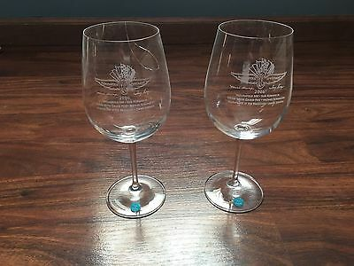 2006 Indianapolis Motor Speedway Wine Glass Set -- Tiffany - Michael Schumacher,