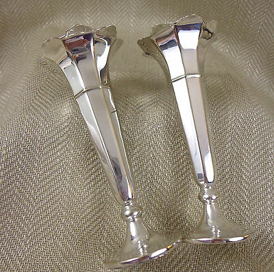 Pair Antique Bud Posy Vase Vases Art Deco Edwardian Silver Plated Vintage Vtg