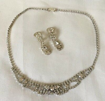 Vintage Style Clear Glass Necklace Drop earrings Set Wedding Bridal