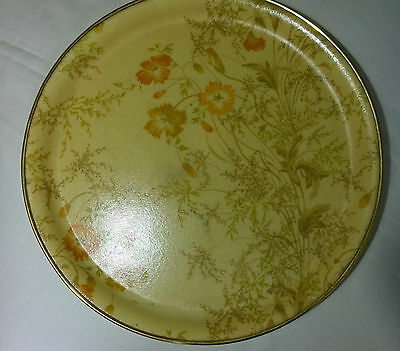 Vintage retro 1960s fibreglass flower meadow cream red beige circular tray