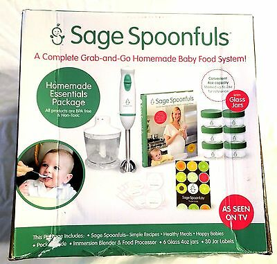 NEW Sage Spoonfuls Glass Jar Homemade Baby Food Maker Essentials Mixer Package