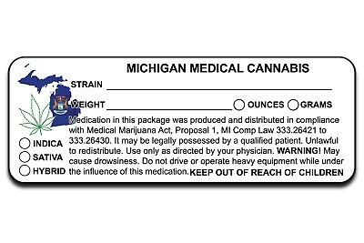 Mi Michigan Marijuana 420 Cannabis Compliant Packaging Label 10 50 100 200 500